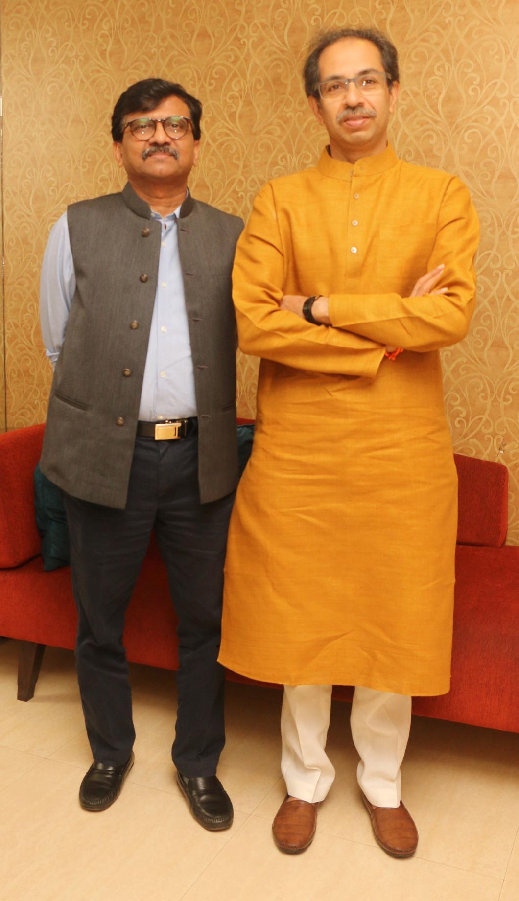 Sanjay Raut and Uddhav Thackeray 2 at Sanjay Raut's movie Thackeray's song recording